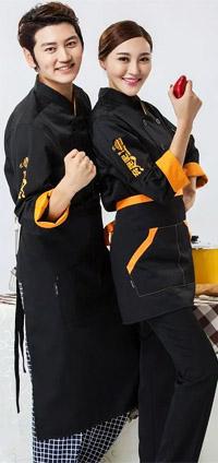 厨师服 黑色 橙色袖口