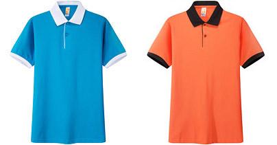 撞色领 橙色广告衫t恤衫