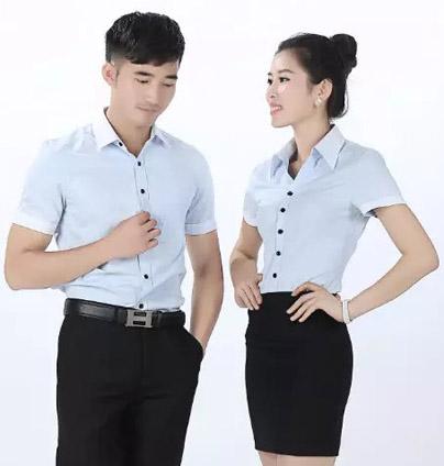 职业装 衬衫 男女 同款 撞色领 黑色扣子