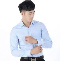 职业装男装衬衫 长袖 蓝色