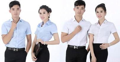 职业装衬衫夏装 浅蓝色 白色 短袖